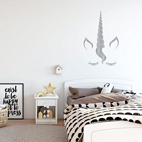 Silver Unicorn Eyelashes Vinyl Wall Decor ...