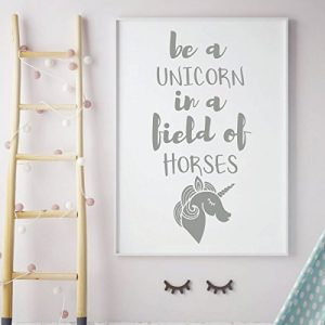 silver unicorn horses vinyl wall decor