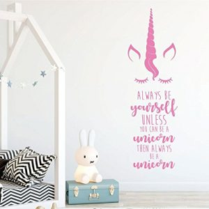 soft pink unicorn face quote vinyl wall decor
