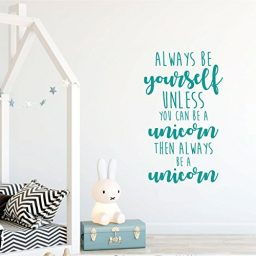 turquoise unicorn always be yourself vinyl wall decor