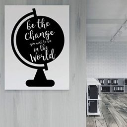 black globe be the change vinyl wall decor