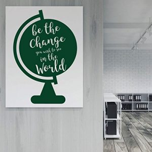 dark green globe be the change vinyl wall decor