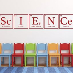 dark red science periodic table vinyl wall decor