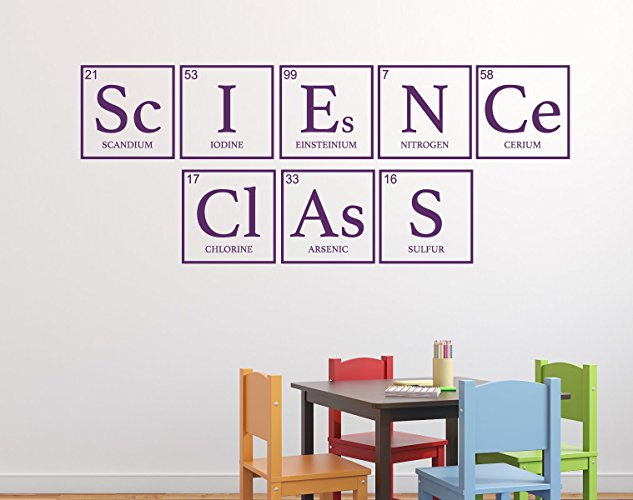 """""""Science Class"""" Periodic Table Vinyl Wall Sign for Classrooms, Teachers"""