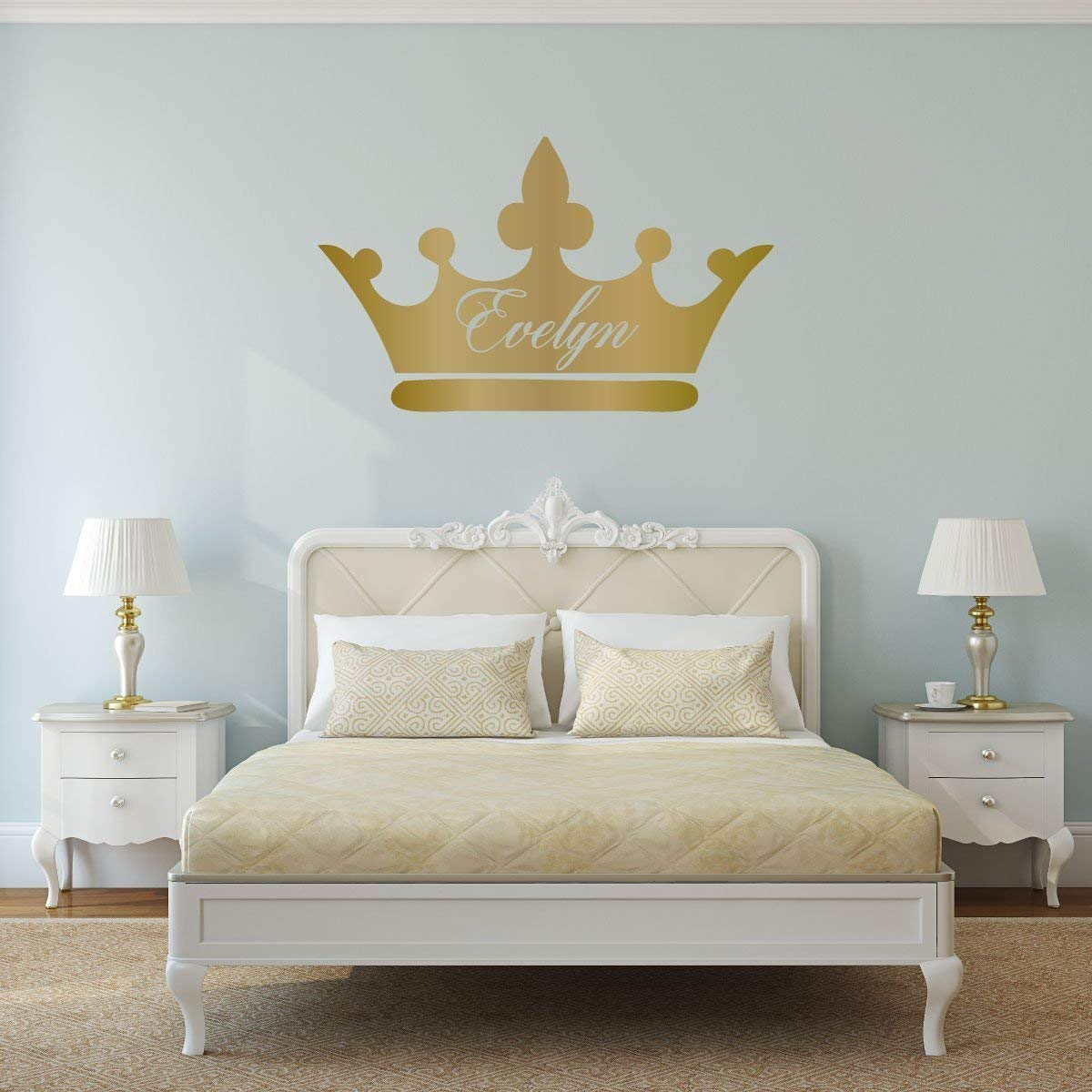 Personalized Princess Wall Art Decals Crown Silhouette | Custom Name and  Colors - Pink, Gray, Gold, Silver | Home Decor for Girls Room | Queen Tiara  ...