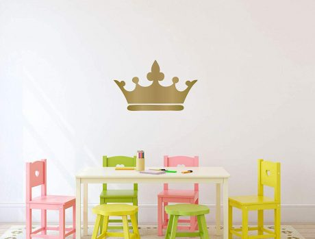 Princess Crown Wall Decal - 25in x 15in Metallic Gold Vinyl Decorative Sticker for Woman's or Girl's Room | Kids Royalty Theme Playroom or Baby Nursery Decor