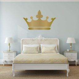Personalized Princess Wall Art Decals Crown Silhouette | Custom Name and Colors - Pink, Gray, Gold, Silver | Home Decor for Girls Room | Queen Tiara Vinyl Decoration | Small, Large Sizes