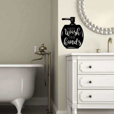 Pleasant Always Wash Your Hands Soap Bathroom Vinyl Wall Decal Restroom Decor Home Interior And Landscaping Mentranervesignezvosmurscom