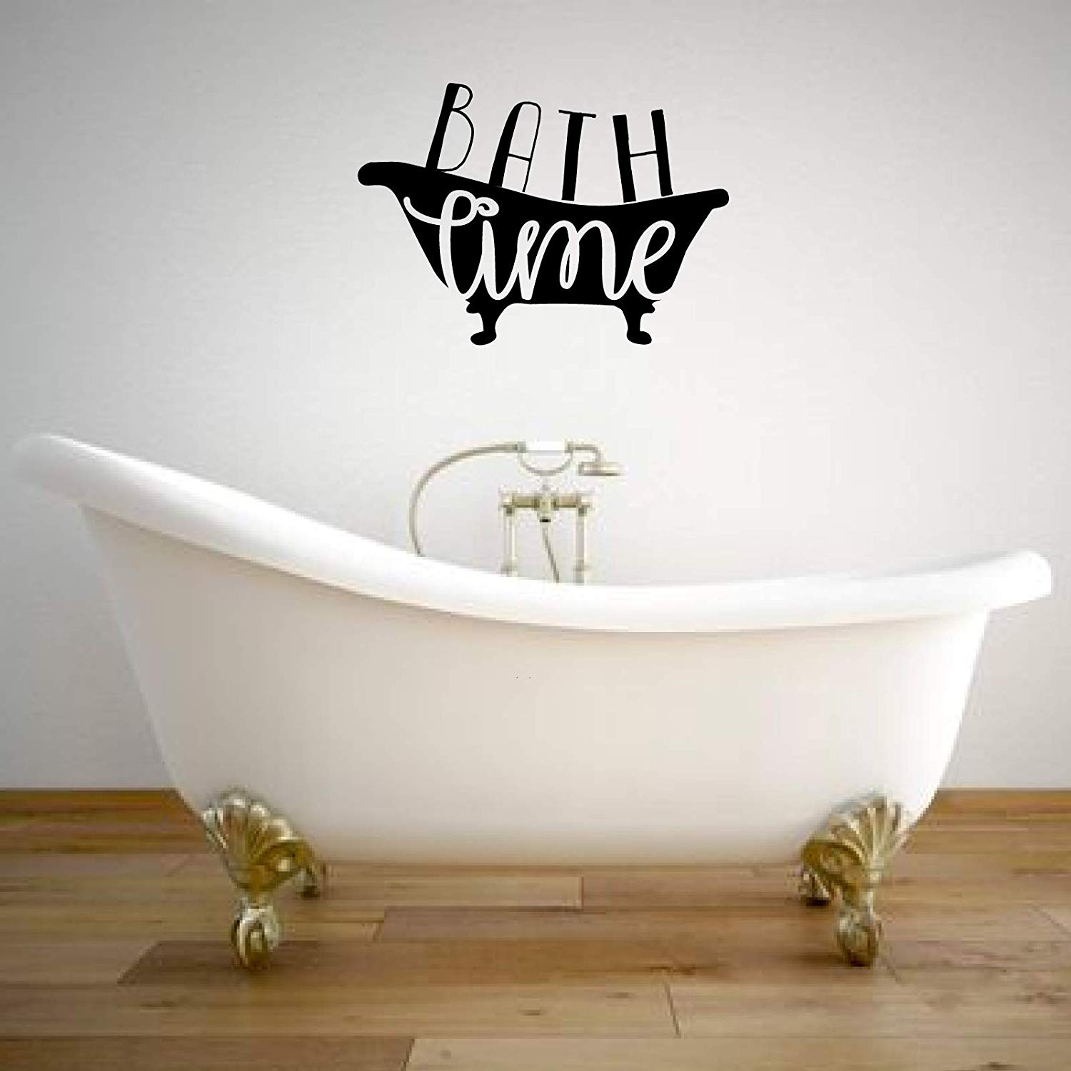 Bath Time Lettering Bathtub Silhouette Vinyl Wall Decal ...