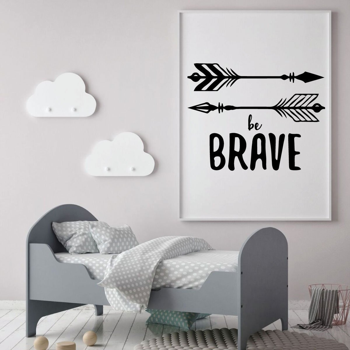 Be Brave Quote Vinyl Decal With Native American Arrows Nursery Decor