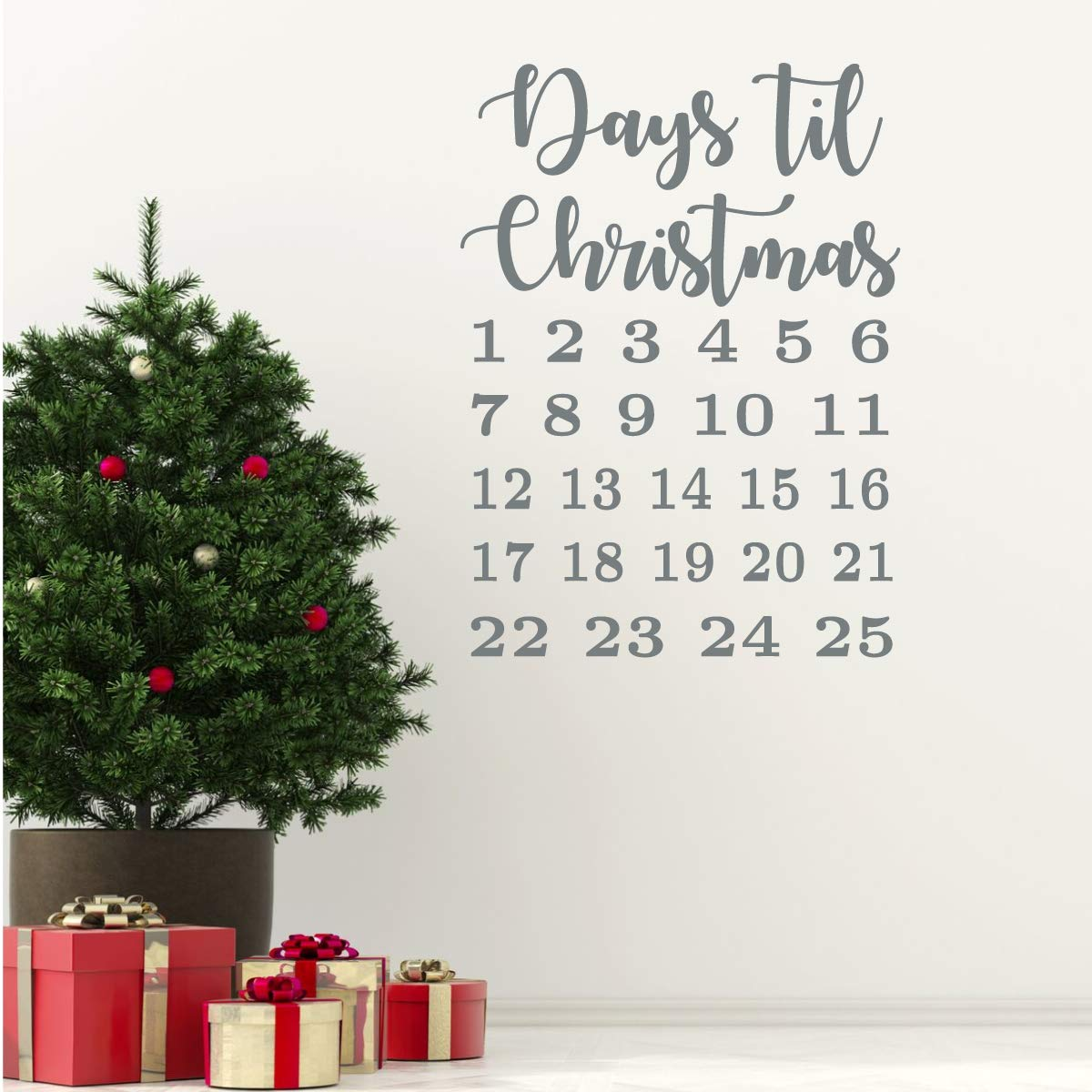Christmas Countdown Calendar.Christmas Countdown Calendar Decal Vinyl Decor Wall Decal