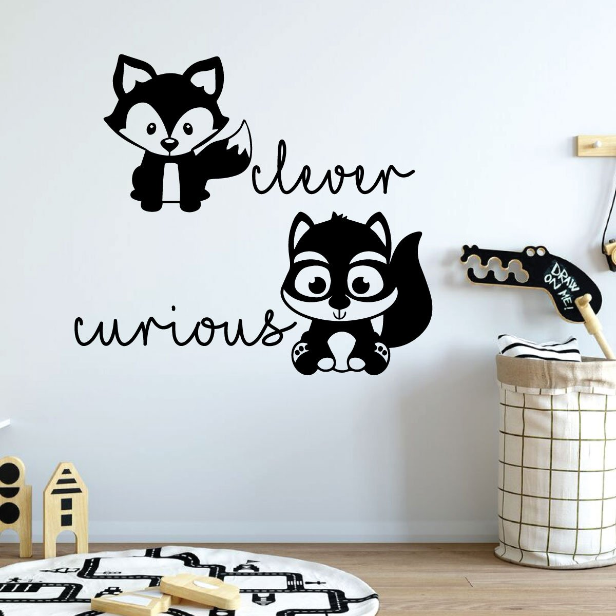 Clever, Curious Fox, Squirrel Wall Decal for Children Bedroom Vinyl Decor