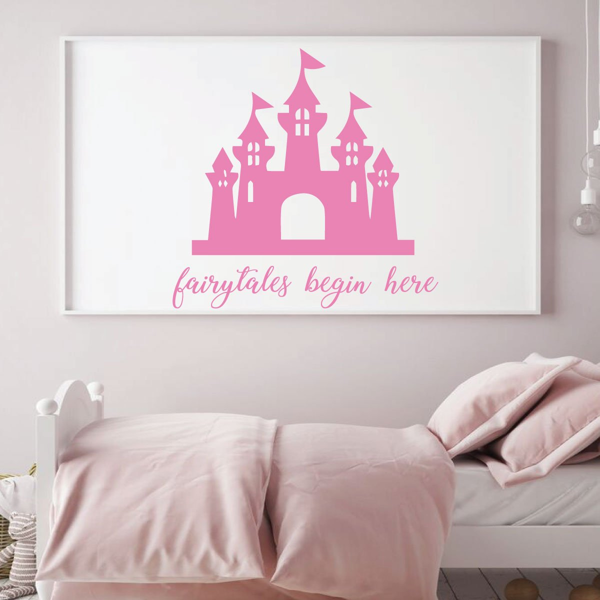 Fairytales Begin Here Princess Castle Wall Decal, Girls Room Vinyl Decor