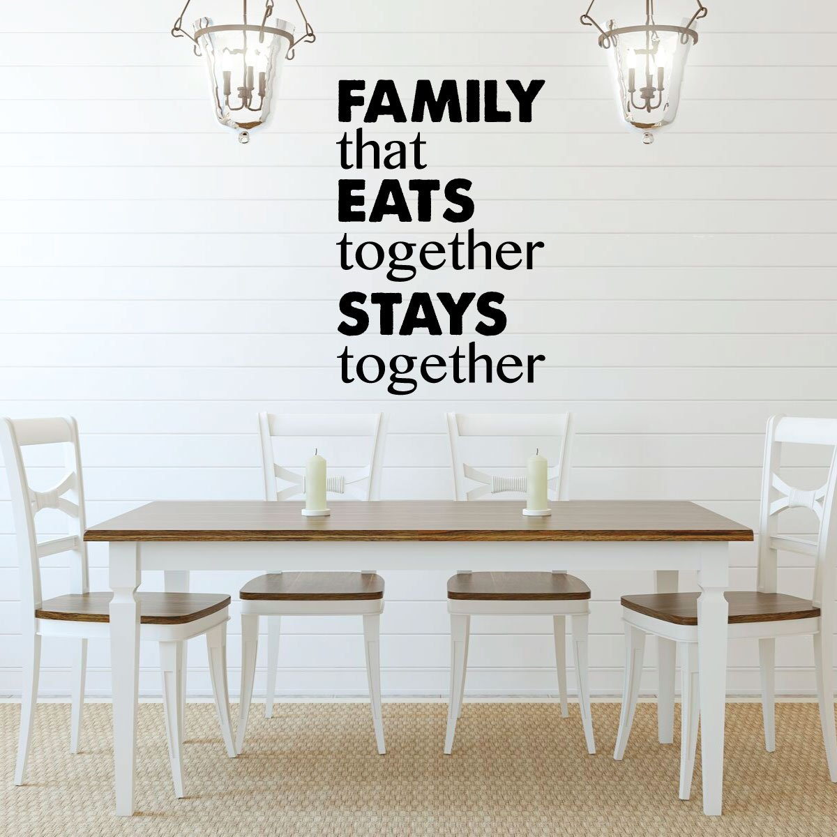 Family Eats Together Quote Dining Room Vinyl Decor Wall Decal