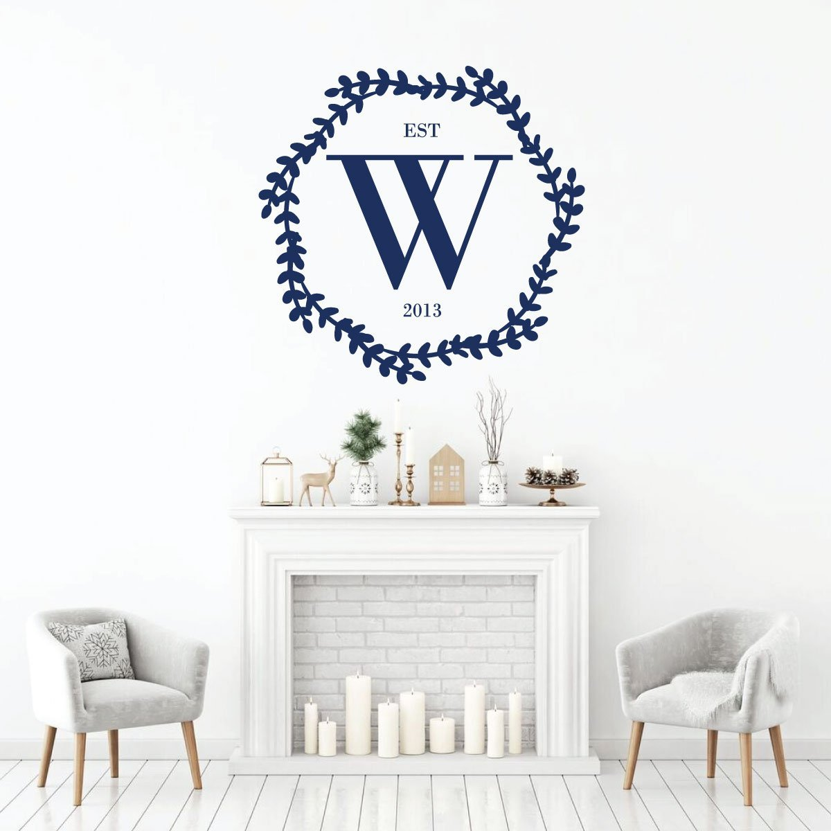 Family Letter Personalized Abbreviation Established Vinyl Decor Wall Decal