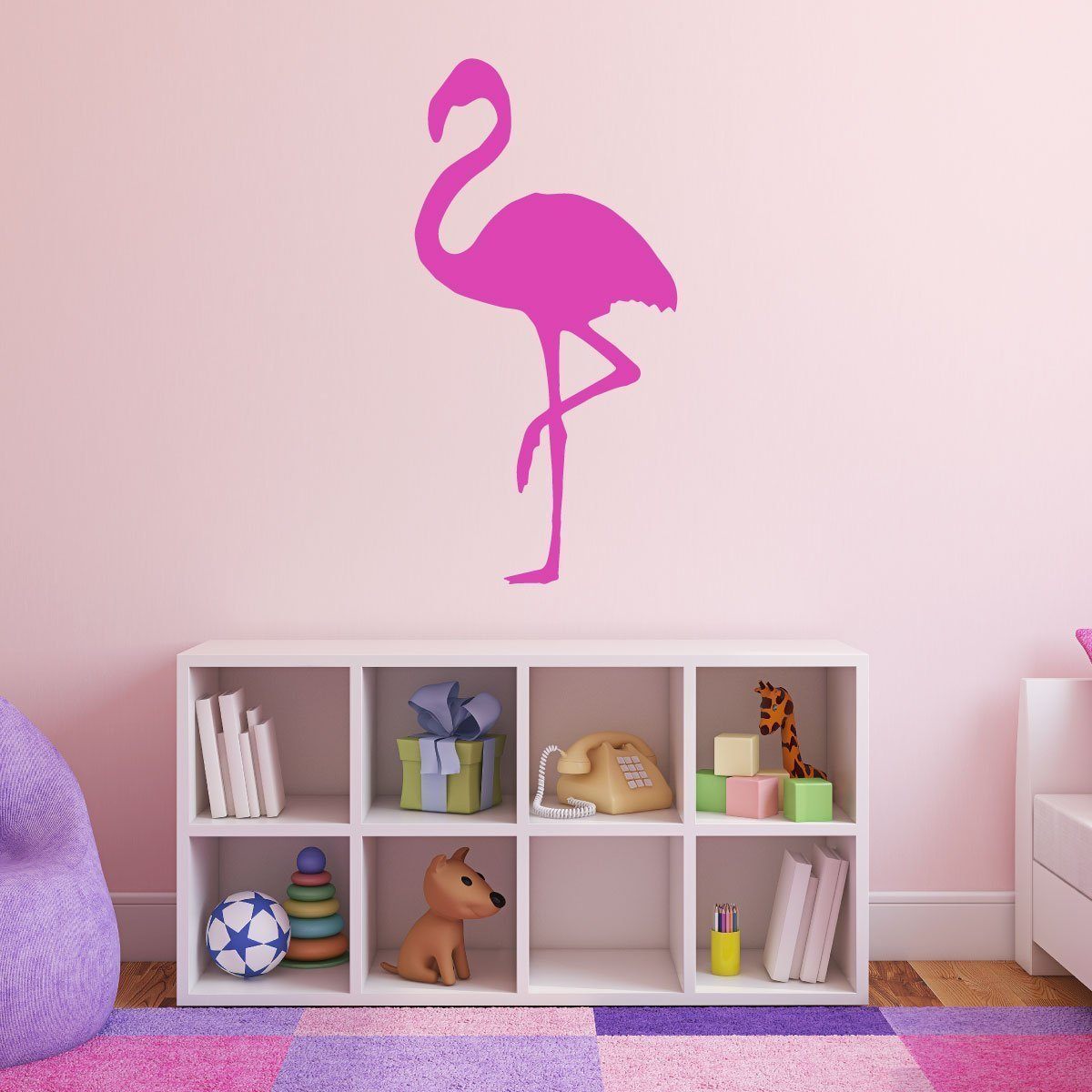 Flamingo Silhouette Design for Girls Bedroom Vinyl Decor Wall Decal