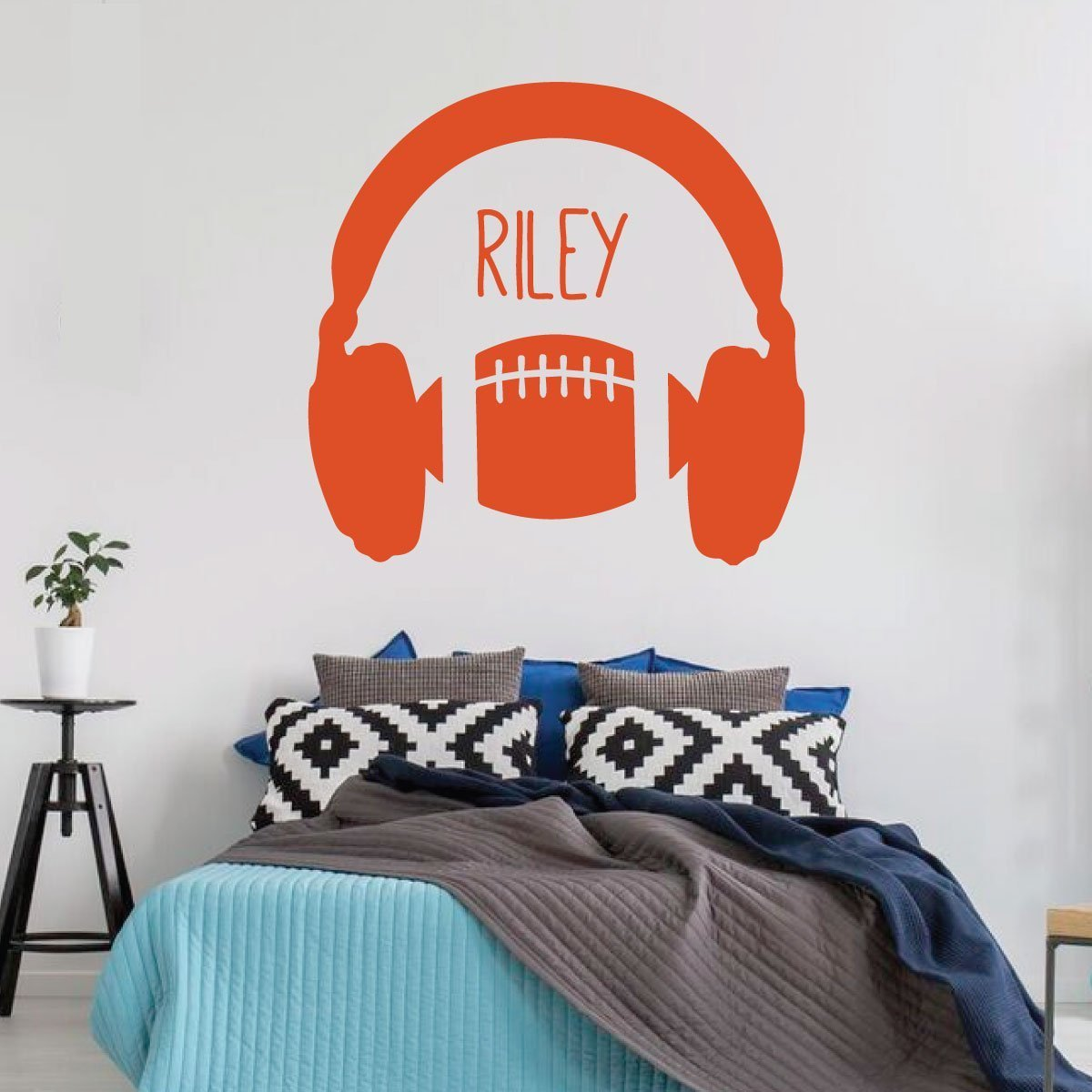 Football Wall Decal Headphones Vinyl Decor Wall Decal