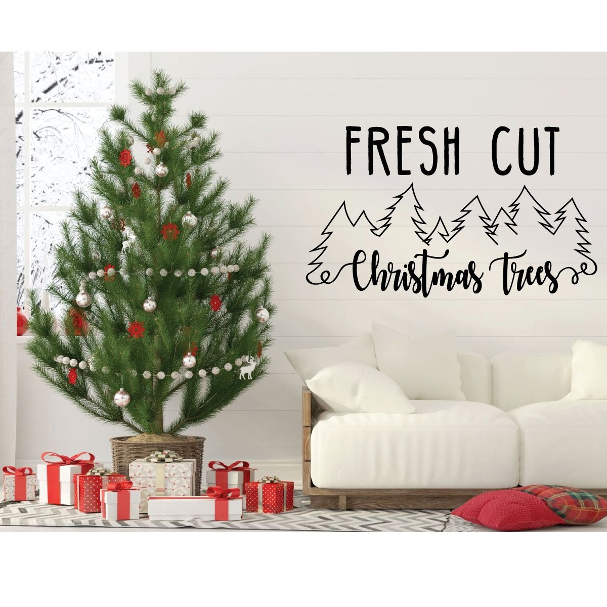 Fresh Cut Christmas Trees.Fresh Cut Christmas Tree Quote Wall Decal Vinyl Decor