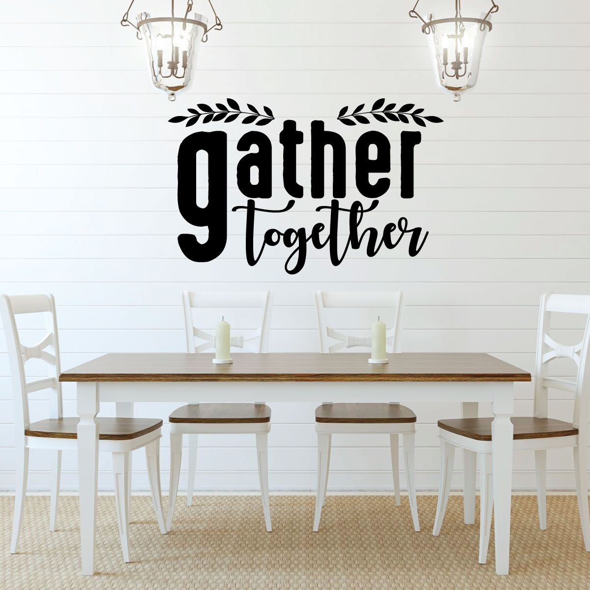 Gather Together Quote Lettering Dining Room Vinyl Decor Wall Decal Customvinyldecor Com