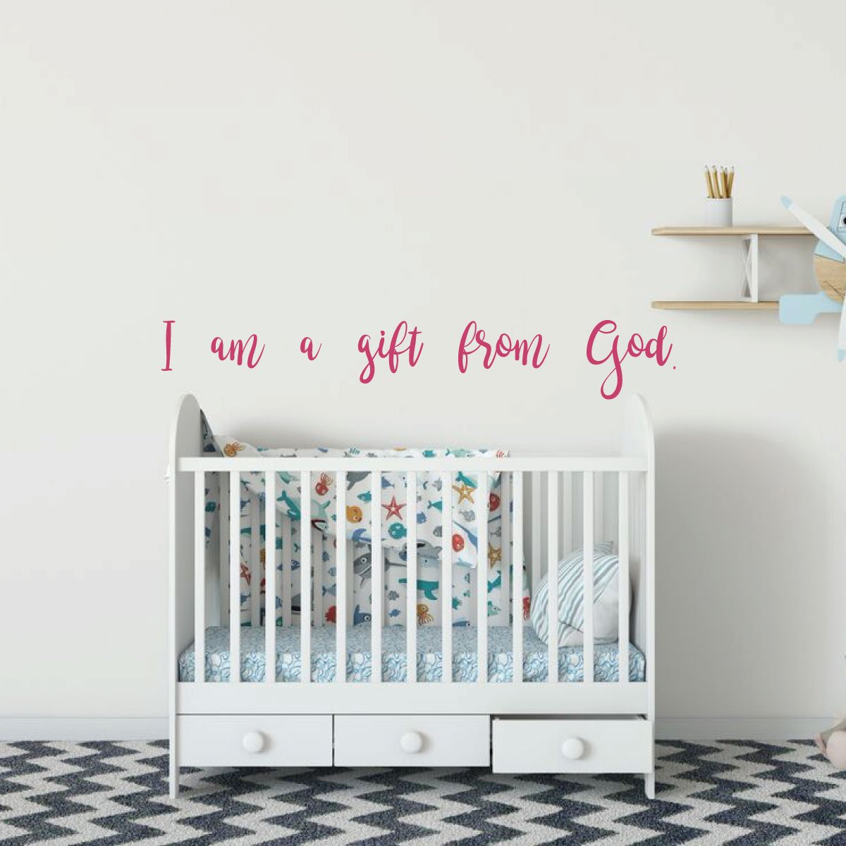 I am a gift from God pink baby girl nursery vinyl decal sticker quote verse