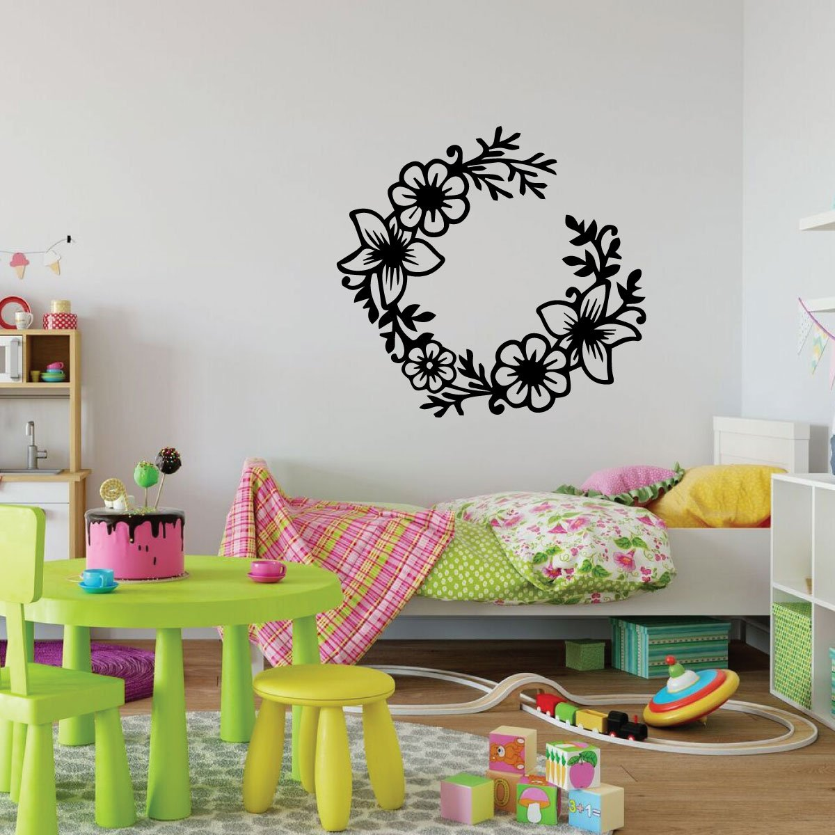 Girls Bedroom Flower Wreath Design Vinyl Decor Wall Decal