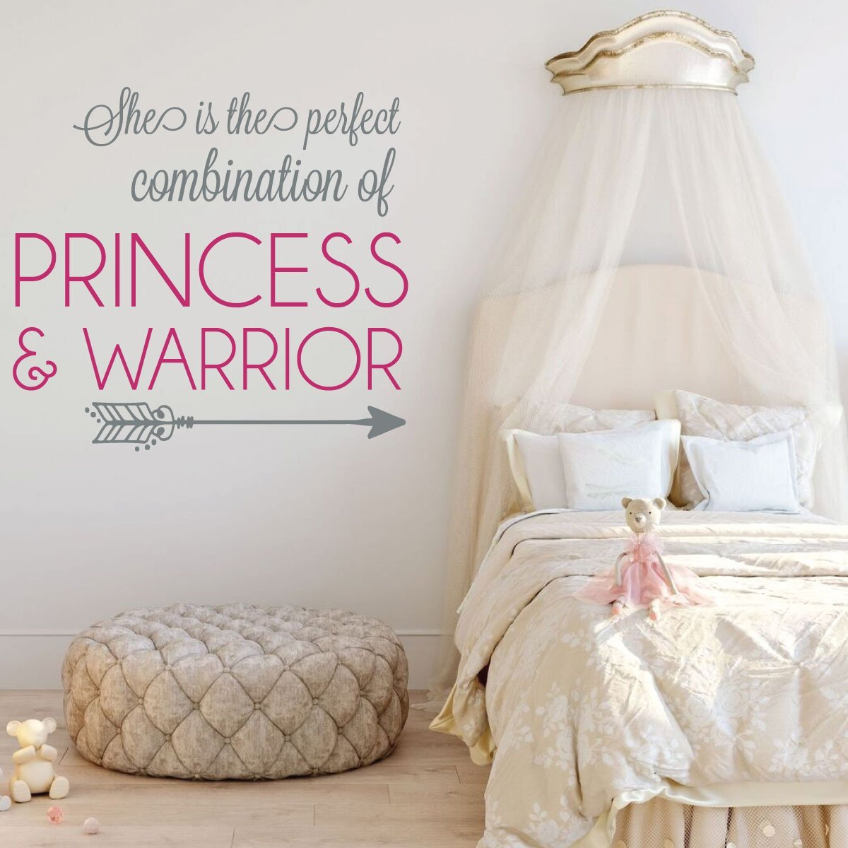 Girls Princess Warrior Bedroom Vinyl Decor Wall Decal
