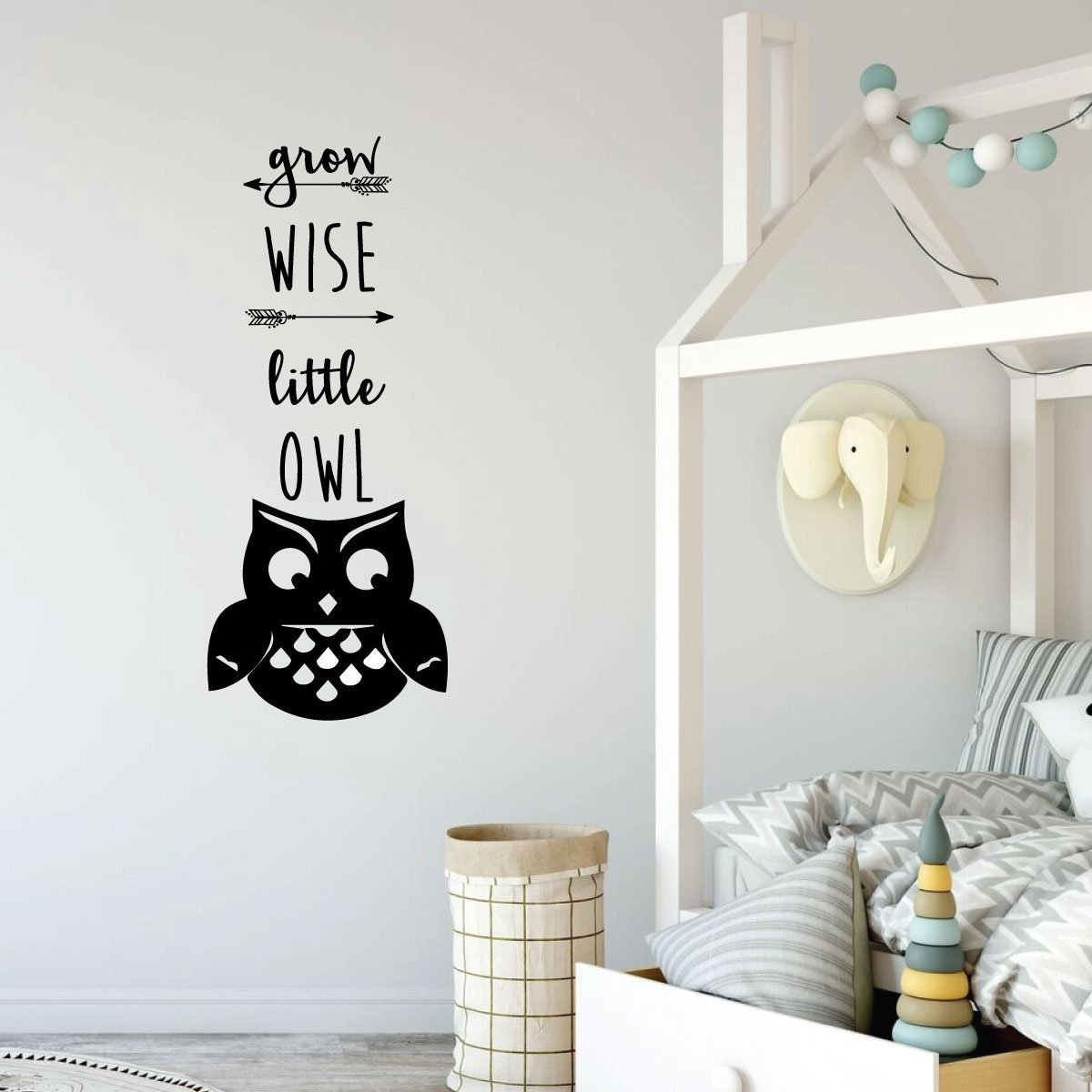 Grow Wise Little Owl Quote For Kids Bedroom Vinyl Decor Wall Decal