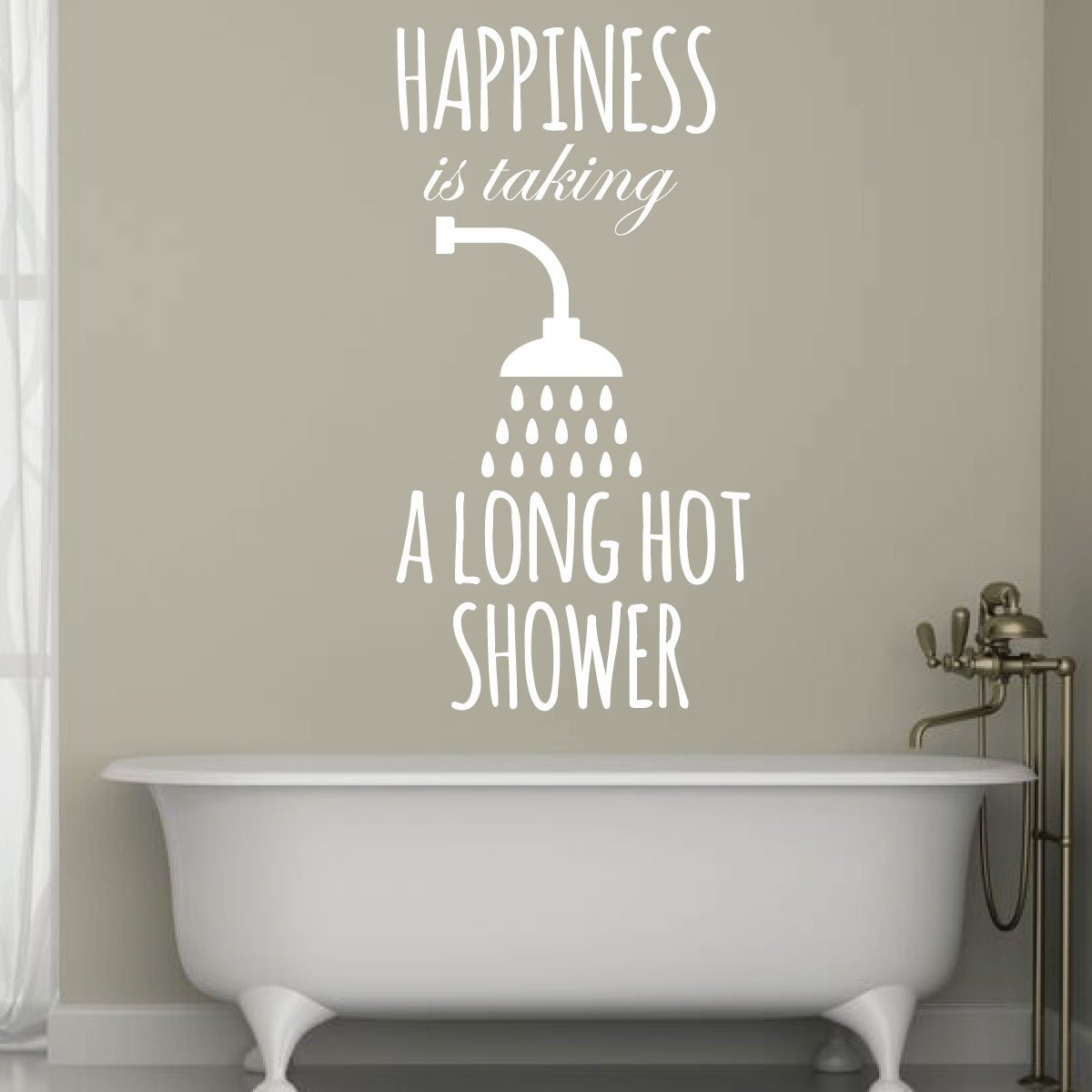 Long Hot Shower Quote Vinyl Wall Decal