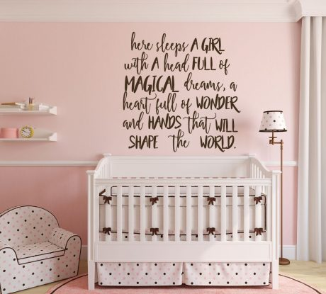 Here Sleeps A Quote Vinyl Wall Decor For Baby Nursery Ager