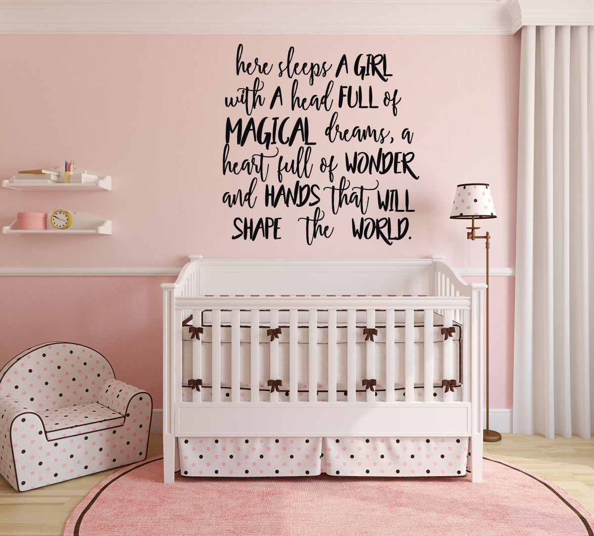Here Sleeps a Girl Quote Vinyl Wall Decor for Baby Nursery, Teenager
