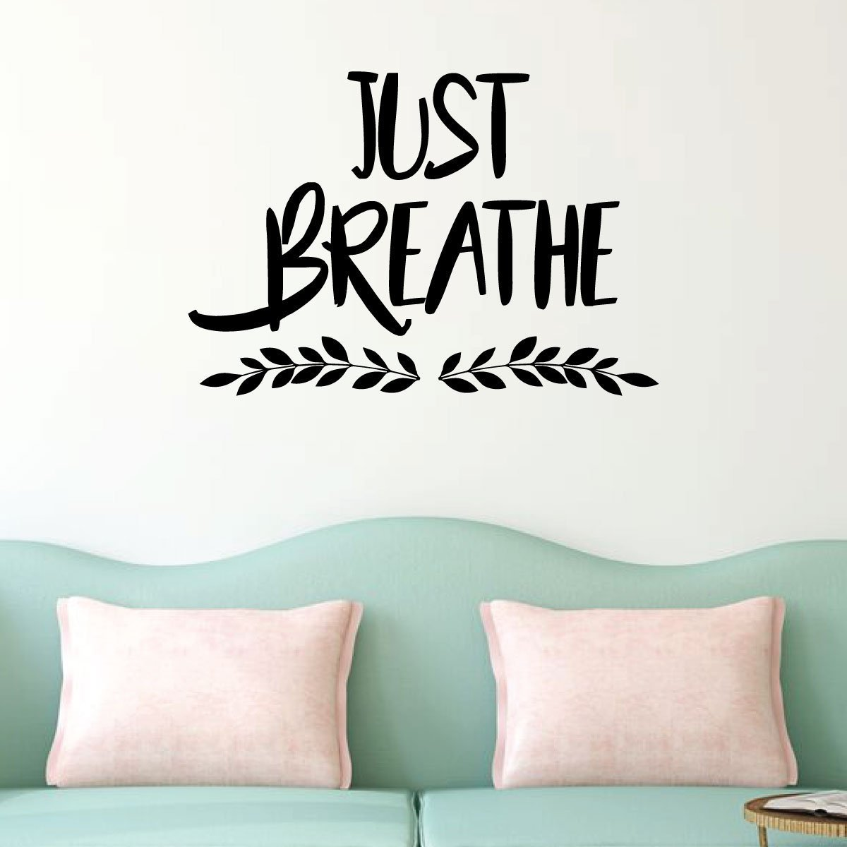 . Just Breathe Lettering Living Room Wall Decal Vinyl Decor Wall Decal