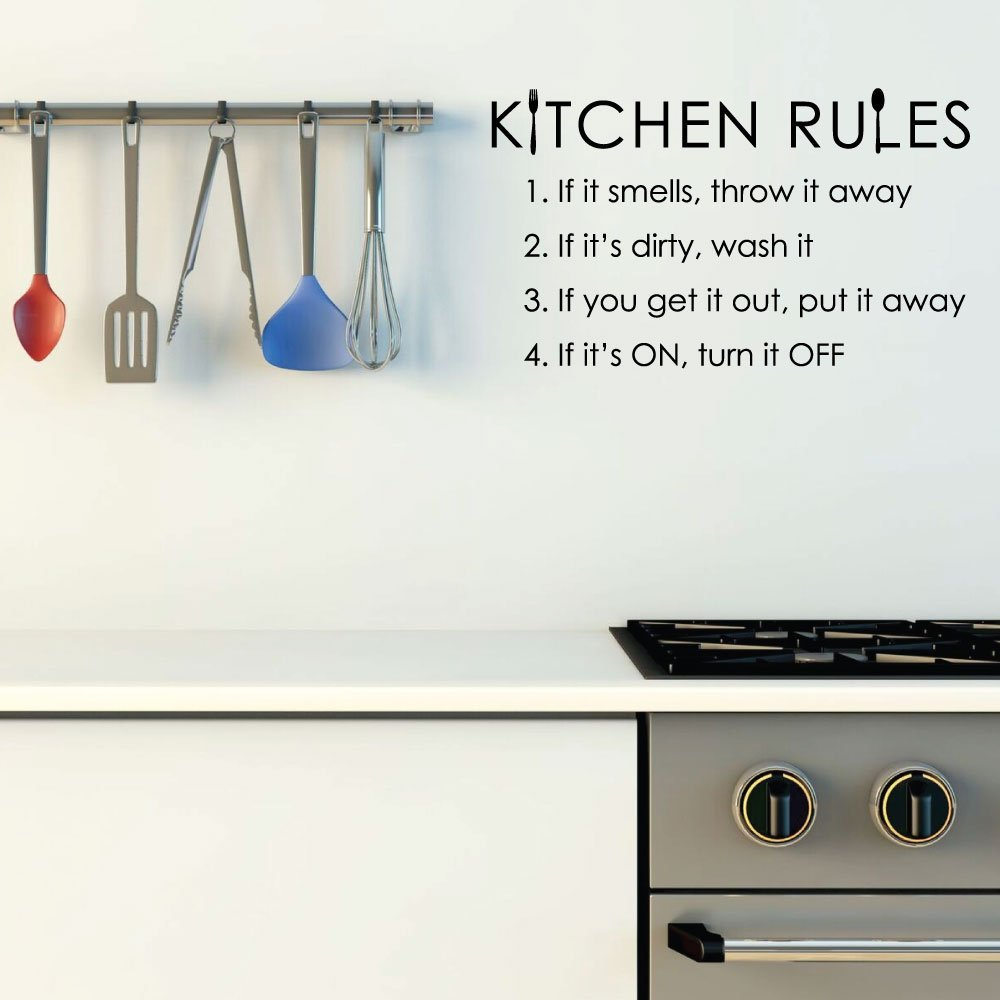 Kitchen Rules Wall Art Vinyl Decor Wall Decal