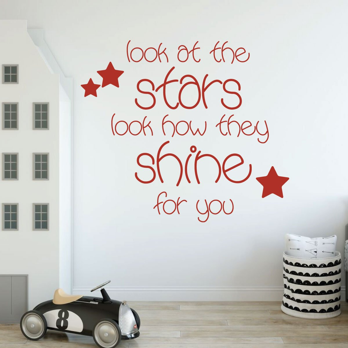 Look At The Stars Quote Lettering Childrens Room Vinyl Wall Decal Decor
