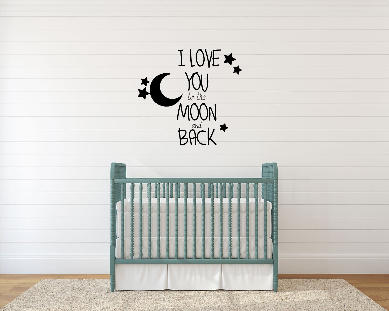 Love You To The Moon And Back Quote Nursery Vinyl Decor Wall Decal