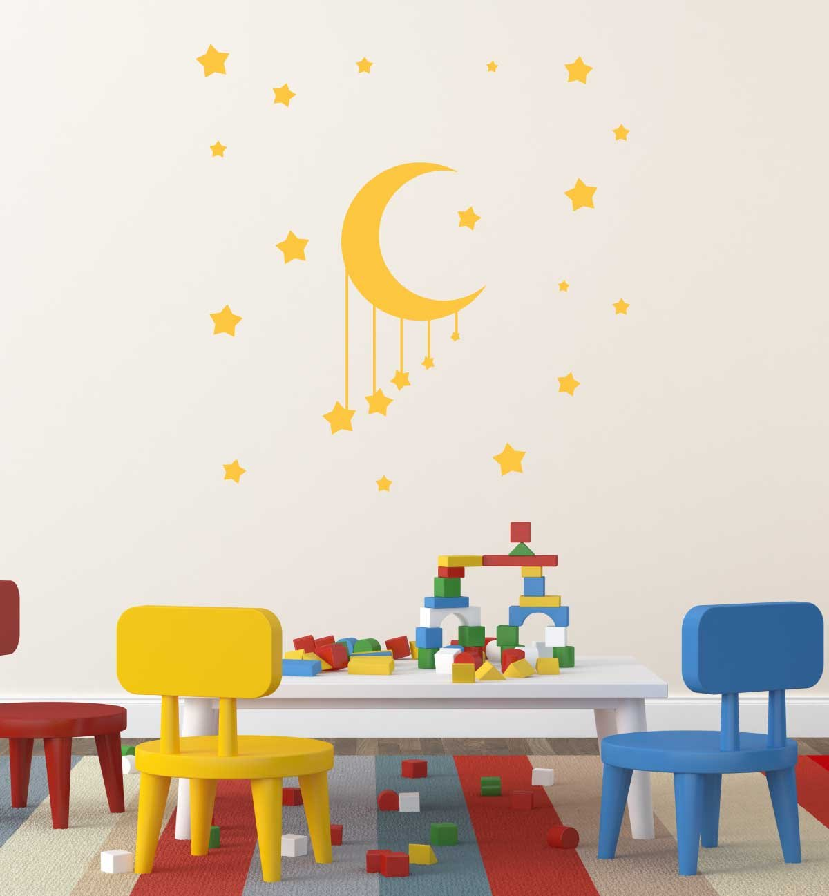 Moon and Stars Baby Room Vinyl Decor Wall Decal