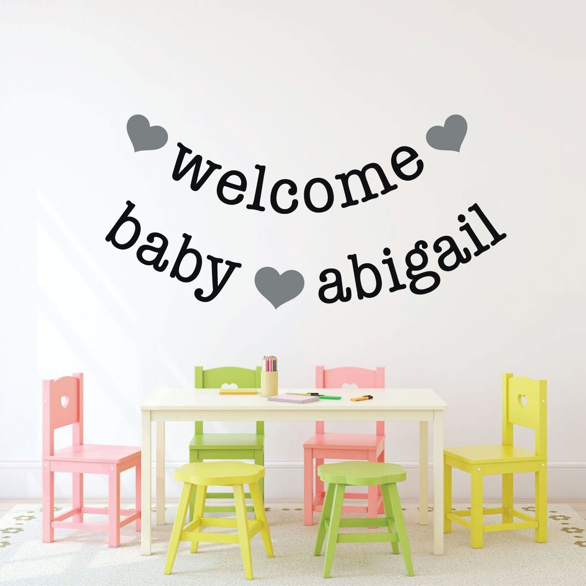 Personalize Name Welcome New Baby Nursery Vinyl Decor Wall Decal
