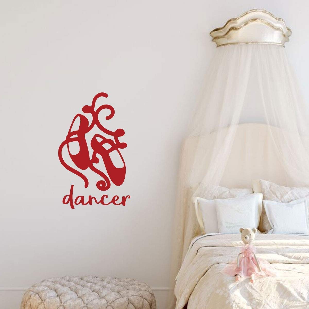 Personalized Ballet Dancer Shoes Vinyl Wall Decal for Girls Bedroom
