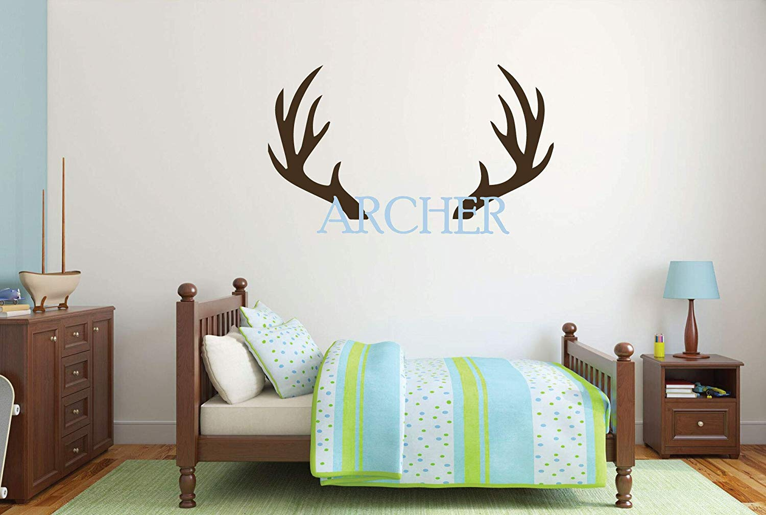 Personalized Name Elk Antler Wall Decal Vinyl Decor for Boys Bedroom