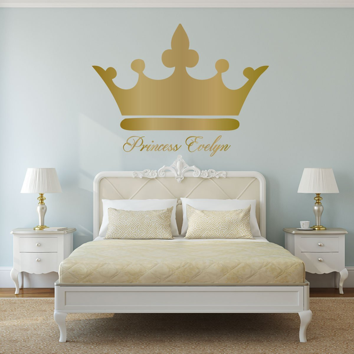Personalized Name Princess Crown Bedroom Vinyl Decor Wall Decal