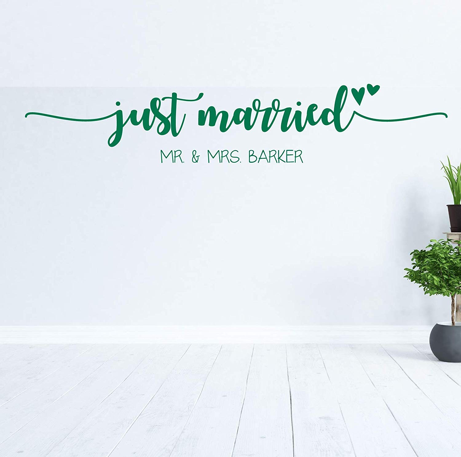 Personalized Mr and Mrs Vinyl Wall Decal Sticker Wedding Last Name Just Married