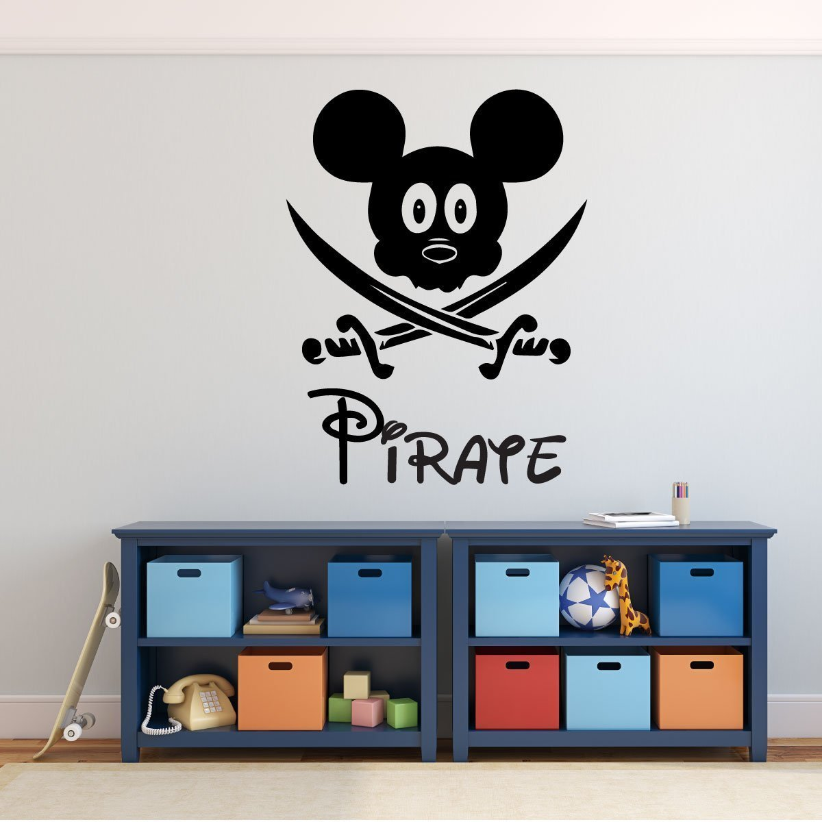 . Pirate Mickey Mouse with Swords Vinyl Decor Wall Decal