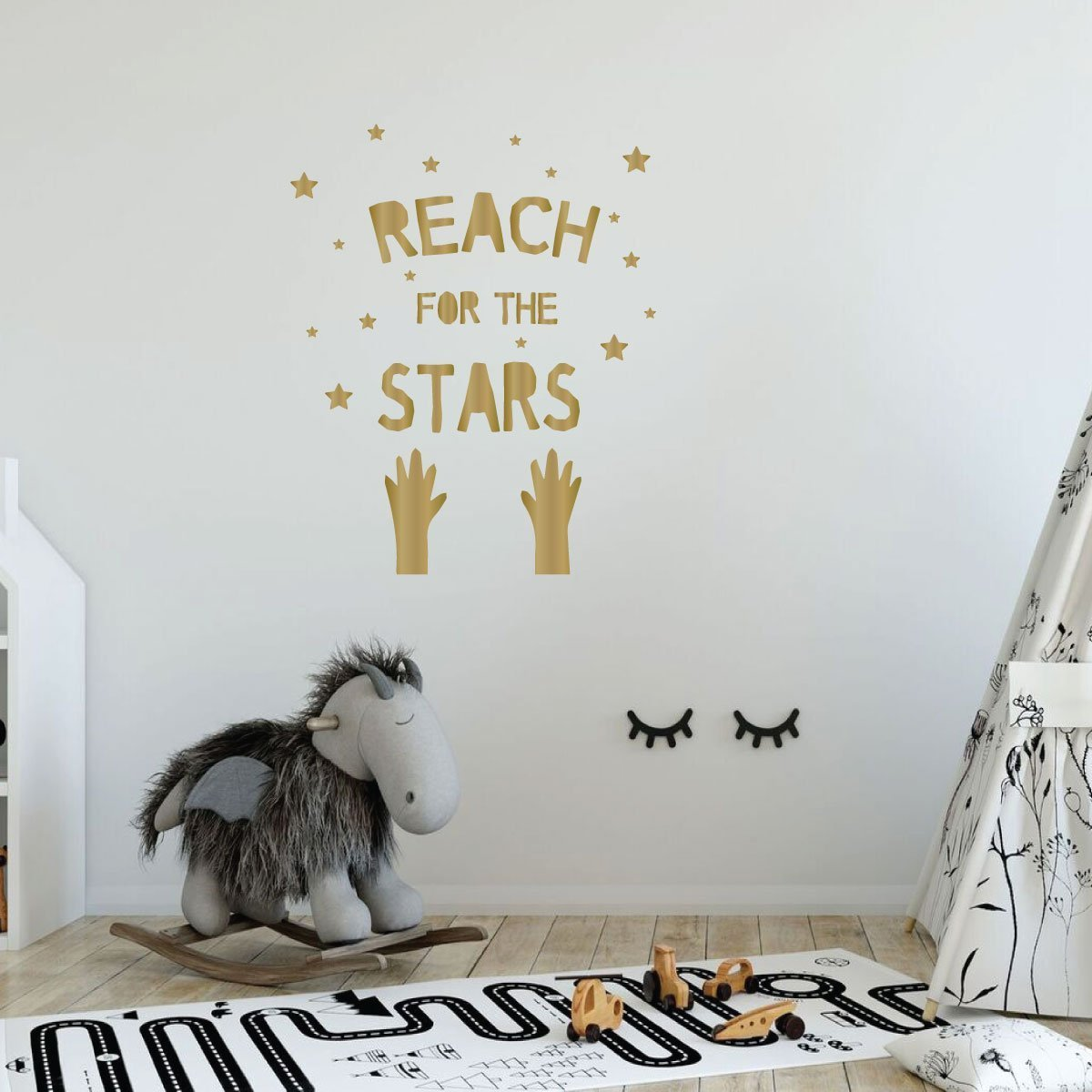Reach For the Stars Quote Child Bedroom, Nursery Vinyl Decor Wall Decal