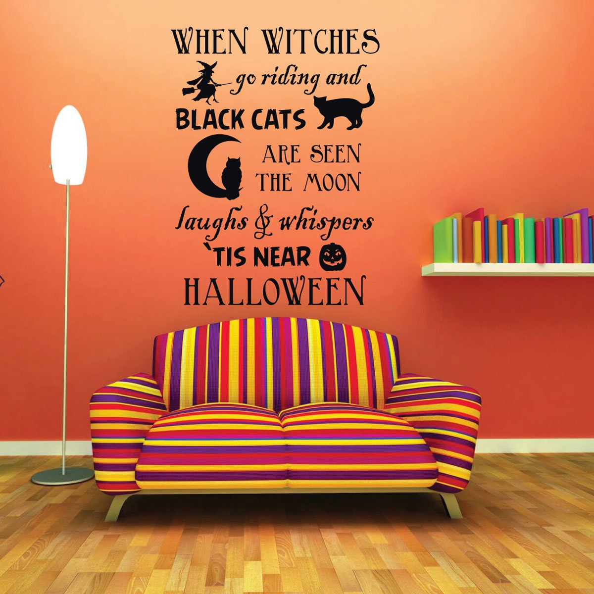 Spooky Witches and Black Cats Halloween Decorations Vinyl Decor Wall Decal
