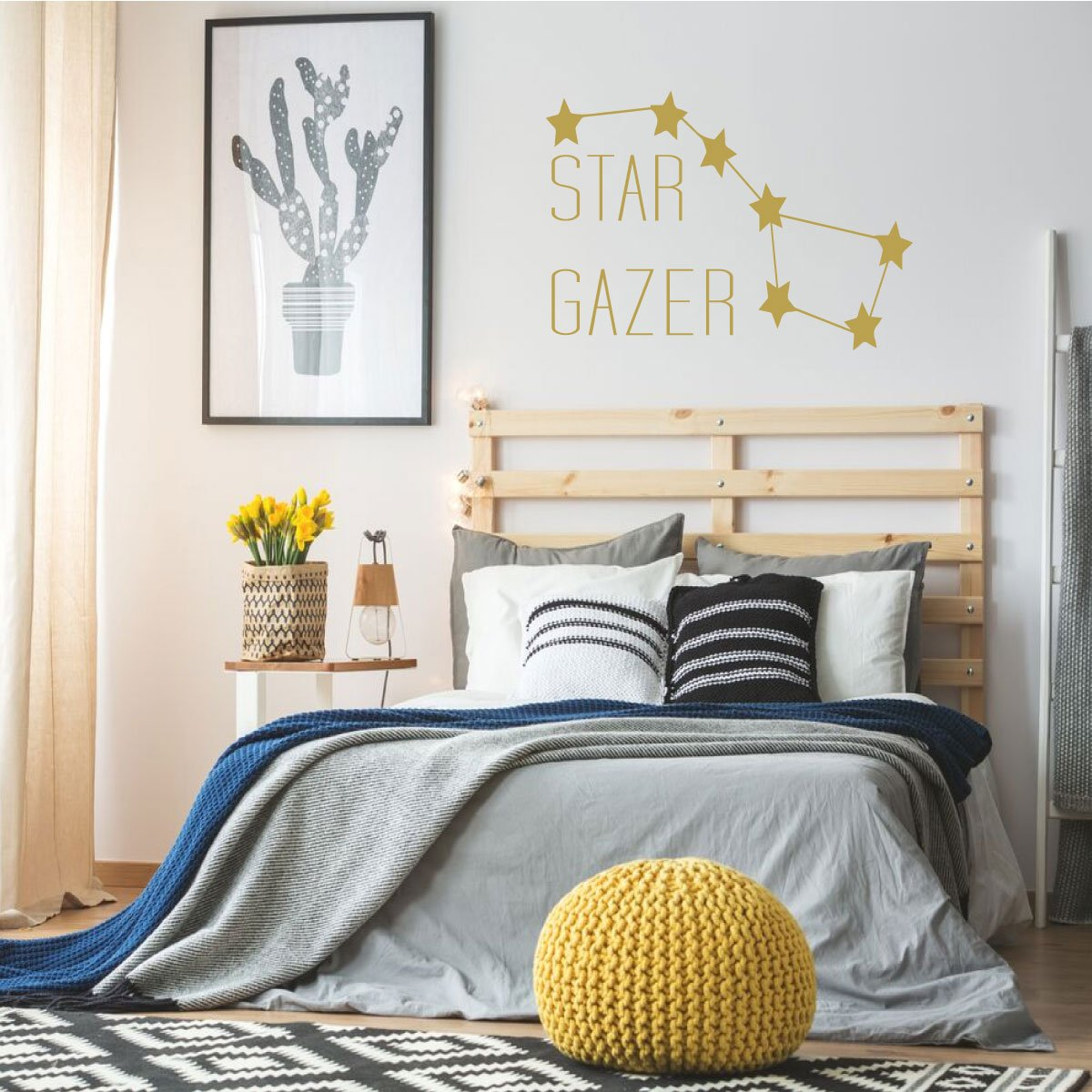 Star Gazer Big Dipper Vinyl Wall Decal Home Decor for Kids Bedroom