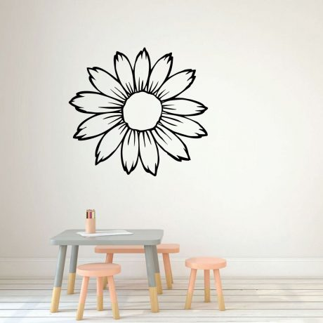 Sunflower Wall Decal Silhouette Vinyl Decor Wall Decal