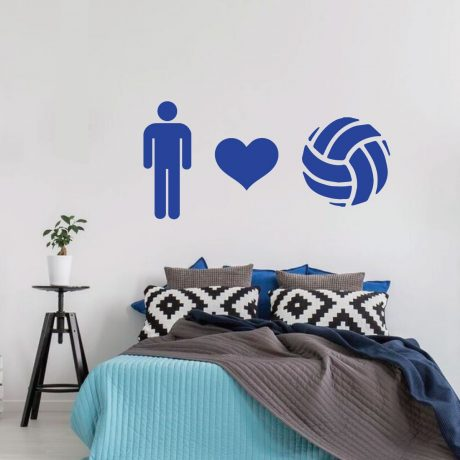 Volleyball Heart Design Player Gift Vinyl Decor Wall Decal Mesmerizing Volleyball Bedroom Decor
