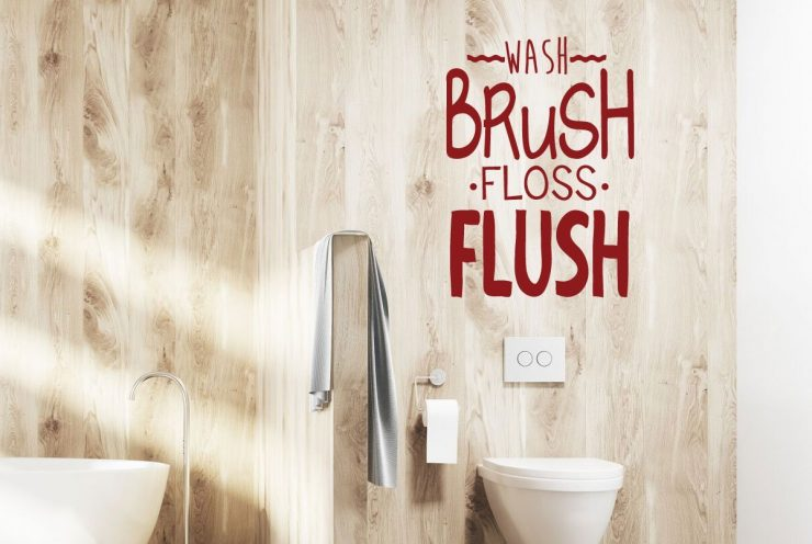 Wash Brush Floss Flush Vinyl Lettering Bathroom Design