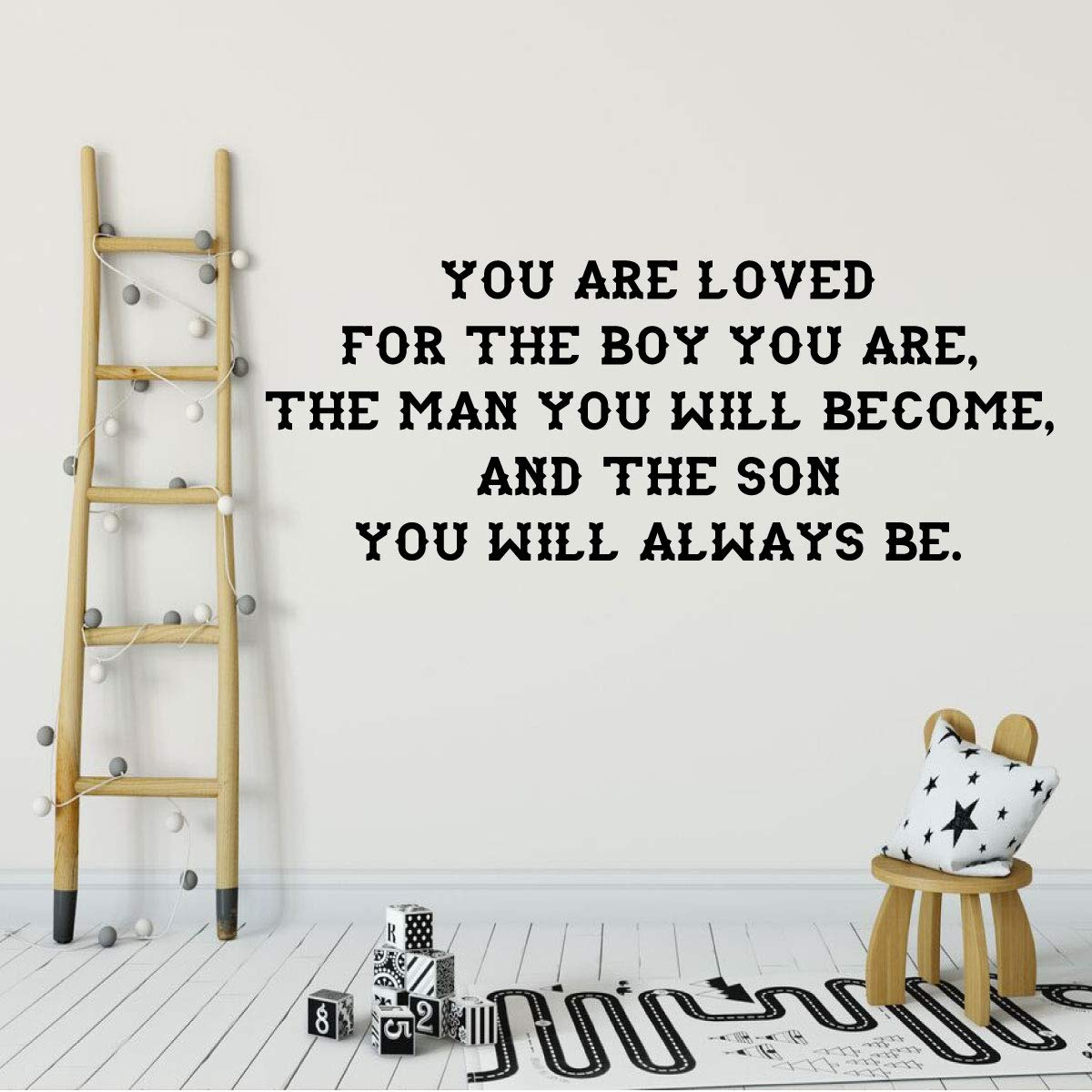 You Are Loved Inspirational Quote Vinyl Wall Decal Quote for Boy Bedroom
