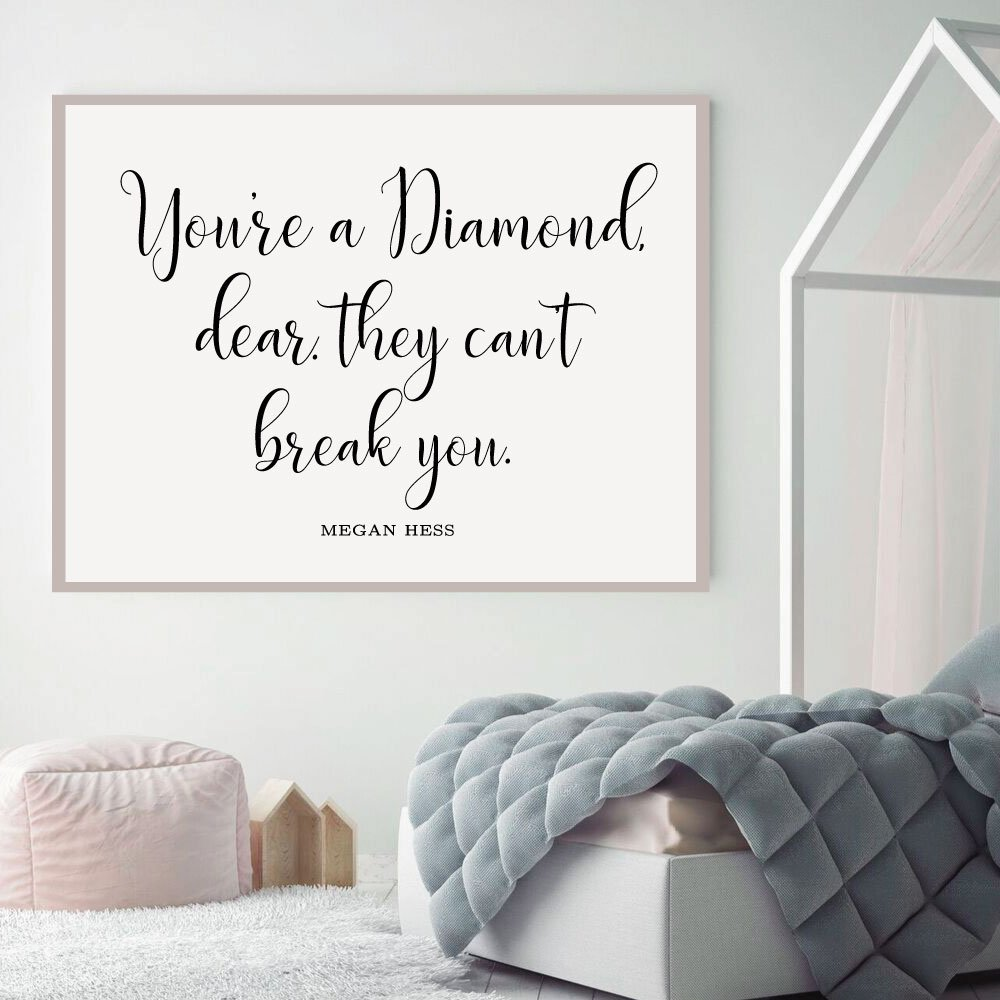Youre a Diamond, Dear Quote Wall Decals for Teen Girls Vinyl Decor