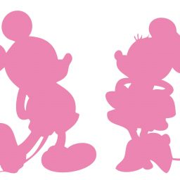 Soft Pink Mickey Minnie Mouse Silhouette Vinyl Decals